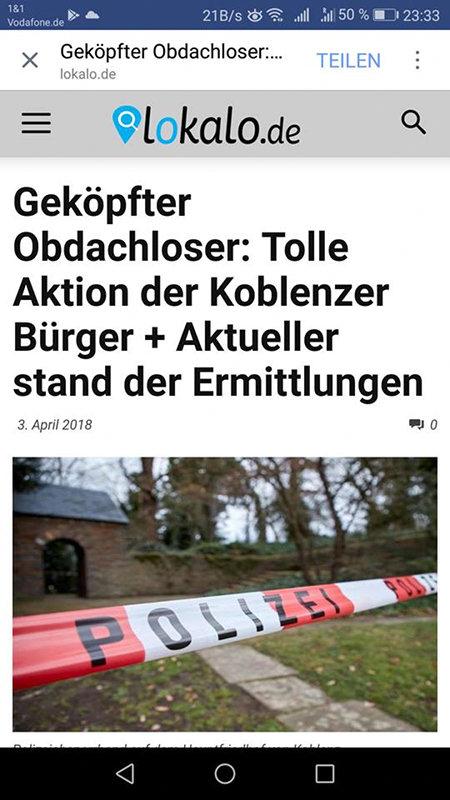 lokalo.de -- Geköpfter Obdachloser: Tolle Aktion der Koblenzer Bürger und aktueller stand der Ermittlungen