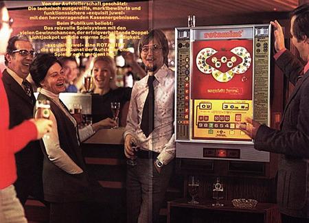 An Aufsteller gerichtete Reklame für das NSM-Geldspielgerät Rotamint Exquisit Juwel aus dem Jahr 1976