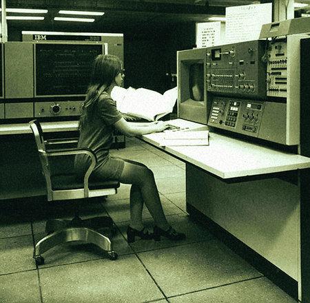 IBM-Konsolenarbeitsplatz Anfang der Siebziger Jahre, 1971