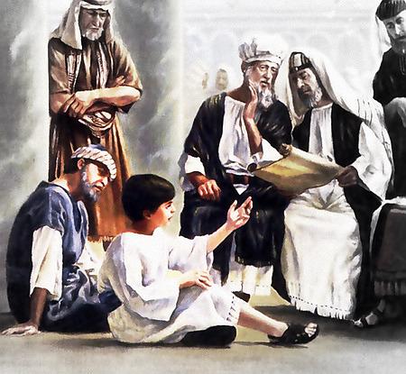 Illustration der biblischen Erzählung, wie Jesus als Kind mit den Schriftgelehrten in Jerusalem diskutiert und sich alle über sein Wissen und seine Weisheit erstaunen und verwundern. Natürlich aus einem Wachtturm...