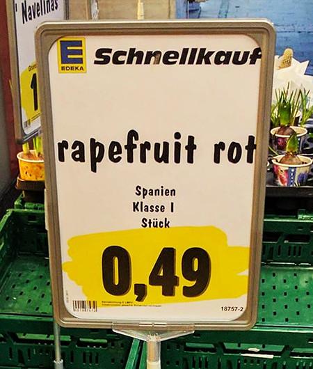 Edeka -- Schnellkauf -- rapefruit rot -- Spanien, Klasse I, Stück 0,49