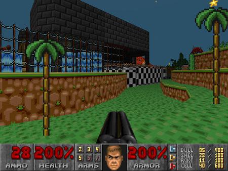 Screenshot aus einem seltsamen DooM-WAD, das grafisch eher nach Super Mario oder Sonic aussieht. Übrigens großartiges und teilweise hammerhartes Gameplay in einer gar nicht dazu passenden Welt...