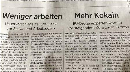 Zwei in der Zeitung unmittelbar nebeneinander angeordnete Überschriften. 'Weniger arbeiten' und 'Mehr Kokain'.