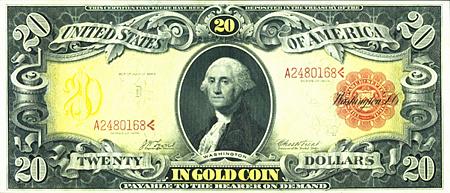 Banknote über 20-US-Dollar aus dem Jahr 1905 mit dem Aufdruck: United States of America -- Twenty Dollars in Gold Coin, payable to the bearer on demand