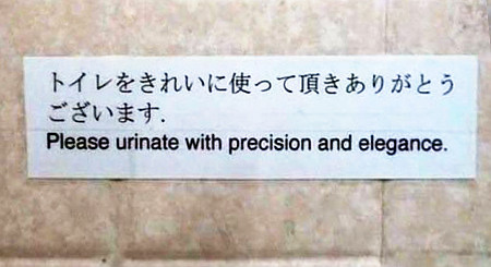 Please urinate with precision and elegance