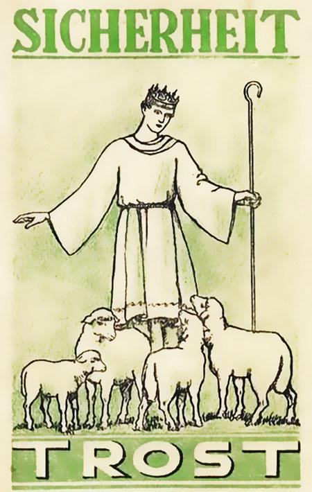 König Jesus mit Schafen. Sicherheit. Trost.