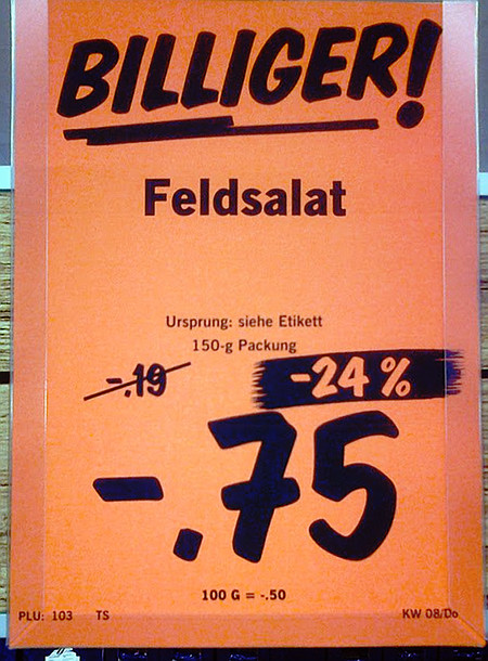 Billiger! Feldsalat -- Ursprung: siehe Etikett -- 150-g-Packung -- von 19 Cent um 24 Prozent reduziert auf 75 Cent