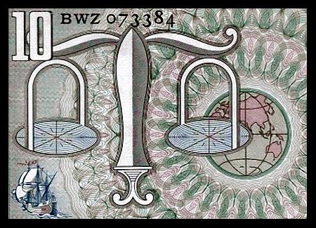 Detail einer Rückseite einer alten Banknote über 10 niederländische Gulden