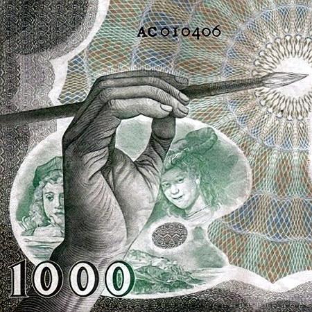 Ausschnitt aus der Rückseite einer alten niederländischen 1000-Gulden-Banknote