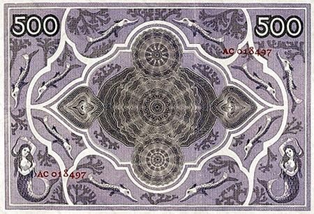 Rückseite einer alten niederländischen 500-Gulden-Banknote