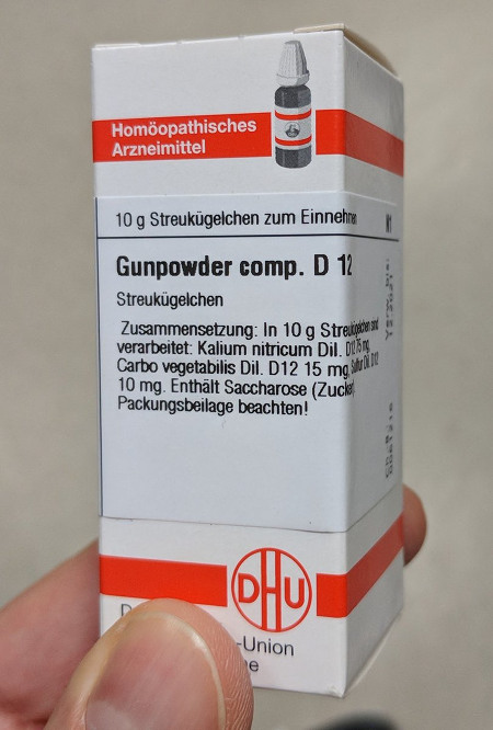 Homöopathisches Arzneimittel -- 10 g Streukügelchen zum Einnehmen -- Gunpowder comp. D 12 -- Streukügelchen