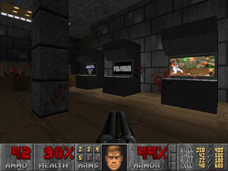 Screenshot aus dem DooM-WAD Mandrill Ass Project mit einer Spielhalle, in der eine Polybius-Konsole herumsteht, die nicht einmal einen Joystick und nur einen einzigen Knopf hat