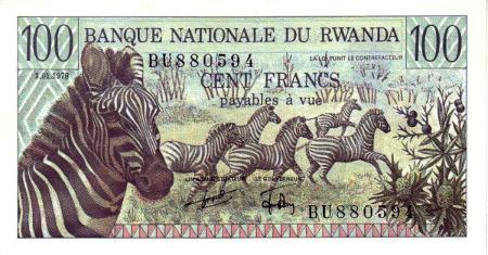 Banknote über 100 Franc aus Rwanda mit Zebras als Motiv