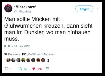 Tweet von *Miezekotze* @_Miezekotz_ vom 31. Juli 2018, 00:09 Uhr: Man sollte Mücken mit Glühwürmchen kreuzen, dann sieht man im Dunklen wo man hinhauen muss.