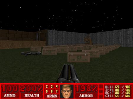Szene aus einer DooM-Map: Vor mir liegen über 100 Raketen und ein Raketenwerfer