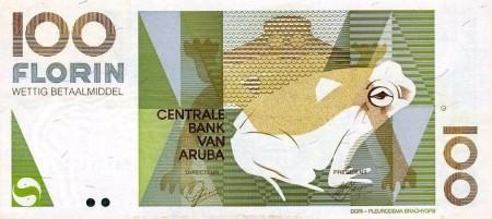 Foto einer Banknote über 100 Florin aus Aruba, Motiv ist ein Frosch