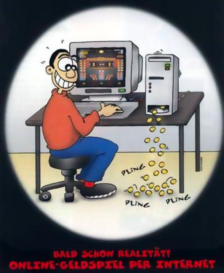 Aus einer Fachzeitschrift für Automatenaufsteller aus dem Jahr 2000: Bald schon Realität! Online-Geldspiel per Internet