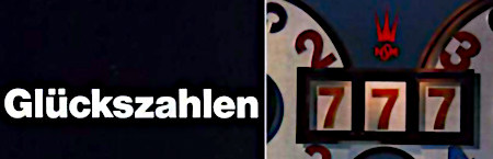 Detail aus einer Werbung für das NSM-Geldspielgerät 'Die goldene 7' aus dem Jahr 1967: Glückszahlen 7-7-7.