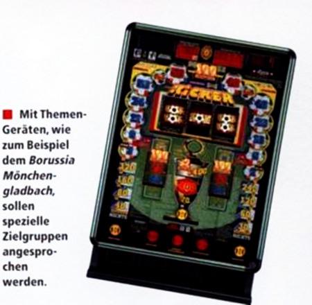 Mit Themen-Geräten wie zum Beispiel dem Borussia Mönchengladbach sollen spezielle Zielgruppen angesprochen werden.
