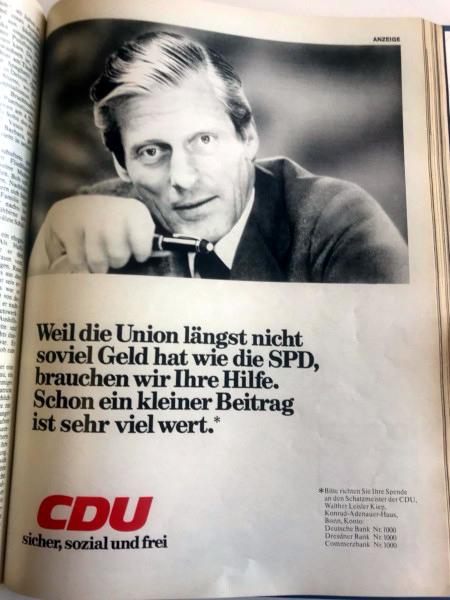 Weil die Union längst nicht so viel Geld hat wie die SPD, brauchen wir Ihre Hilfe. Schon ein kleiner Betrag ist sehr viel wert. -- CDU -- sicher, sozial und frei