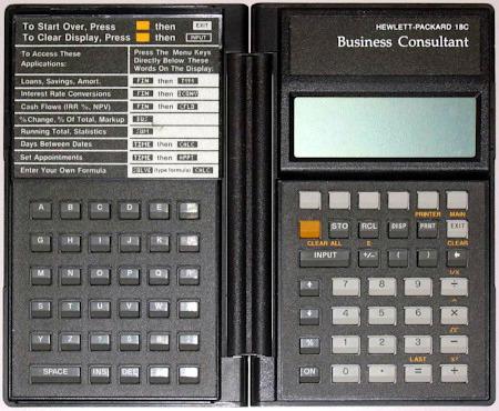 Taschenrechner 'Hewlett Packard 18 C Business Consultant' aus dem Jahr 1986