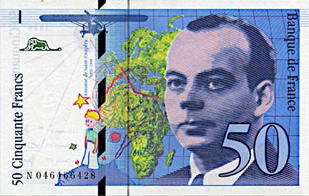 Französische 50-Franc-Note mit Antoine de Saint-Exupery als Motiv und Darstellung des kleinen Prinzen auf seinem Planeten