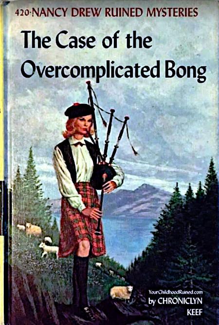 Bucheinband, der eine Dudelsackspielerin zeigt. Der Titel des Buches lautet 'The Case of the Overcomplicated Bong'.