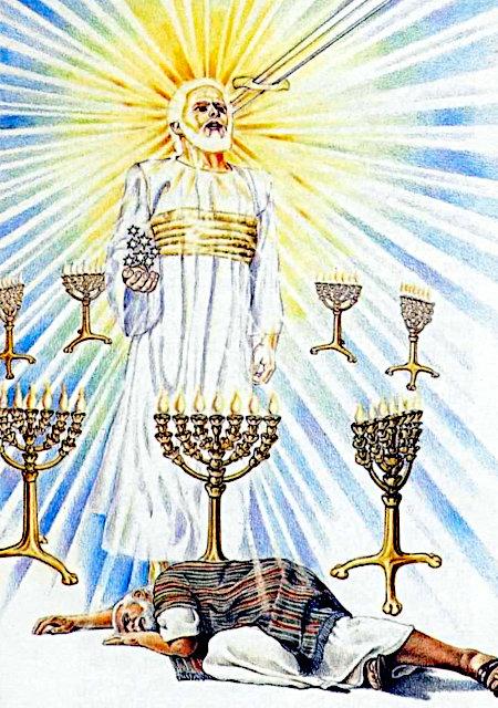 Schwer verbal beschreibbare Illustration aus der Literatur der Zeugen Jehovas. Ein Mann liegt offenbar schlafend auf dem Boden. Über im ist dargestellt, was er träumt. Ein strahlender, weißhaariger Mann mit einem goldenen Ring um die Brust ist von sieben siebenarmigen Leuchtern umgeben, in der Hand hält er sieben Sterne, aus seinem Mund kommt ein Schwert.