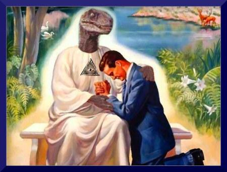 Unbeschreibliche Bearbeitung eines kitschigen Bildes aus dem Wachtturm -- Jesus ist ein Reptiloide mit dem Allsehendem Auge auf der Brust.