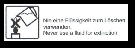 Detail: Nie eine Flüssigkeit zum Löschen verwenden