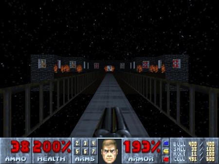 Screenshot aus dem DooM-Mod Whispers of Satan -- Eine Brücke geht durch den leeren Weltraum auf eine obskure Burg, an der Hitlerporträts aus dem Spiel Wolfenstein 3D hängen.