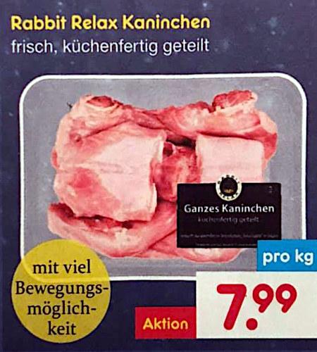 Rabbit Relax Kaninchen -- frisch, küchenfertig geteilt -- mit viel Bewegungsmöglichkeit -- pro Kilogramm nur 7,99€