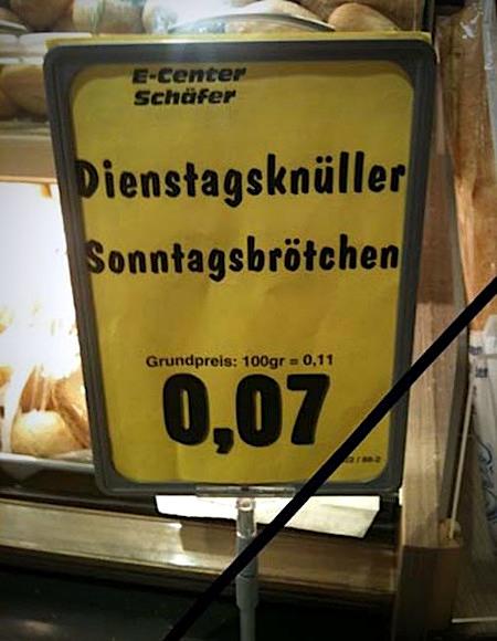 Edeka-Center Schäfer -- Dienstagsknüller: Sonntagsbrötchen -- Grundpreis 100g = 0,11 -- 0,07