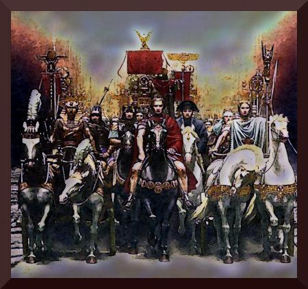 Stark nachbearbeitete Illustration aus dem Danielbuch der Zeugen Jehovas: Diverse historische Feldherren.