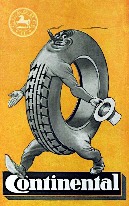 Unbeschreiblich bescheuerte Werbung für Continental-Reifen aus dem Jahr 1928