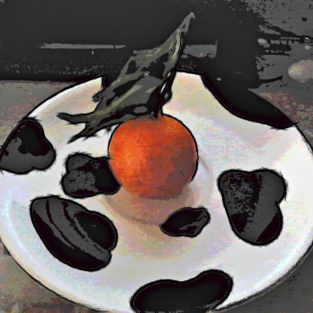 Stark mit Gimp nachbearbeitetes Foto einer Mandarine