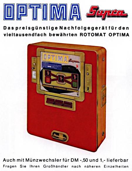 Werbung für das Wulff-Geldspielgerät Optima Supra aus dem Jahr 1965