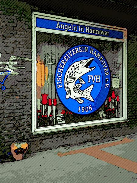Digital nachbearbeitetes Foto des Fischereivereins Hannover auf der Hildesheimer Straße