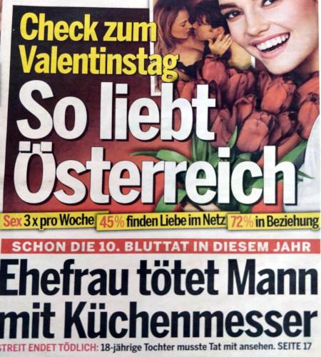 Zwei Schlagzeilen direkt übereinander -- So liebt Österreich -- Ehefrau tötet Mann mit Küchenmesser