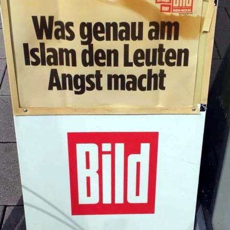 Reklameaufsteller der Bildzeitung: Was genau am Islam den Leuten Angst macht -- Bild