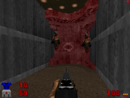 Screenshot Doom, ein Schalter mit der Form eines Auges ist von Erhängten umgeben