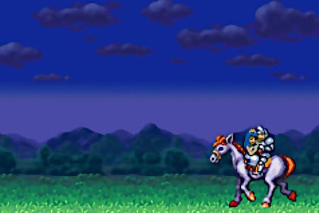 Abschlussanimation des Capcom-Spieles Super Ghouls'n Ghosts aus dem Jahr 1991: Der Ritter und die vor Dämonen gerettete Prinzessin reiten zurück.