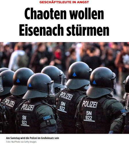 Screenshot Bildzeitung: Geschäftsleute in Angst, Chaoten wollen Eisenach stürmen. Darunter ein Symbolbild mit Polizeibeamten in voller Prügelausrüstung