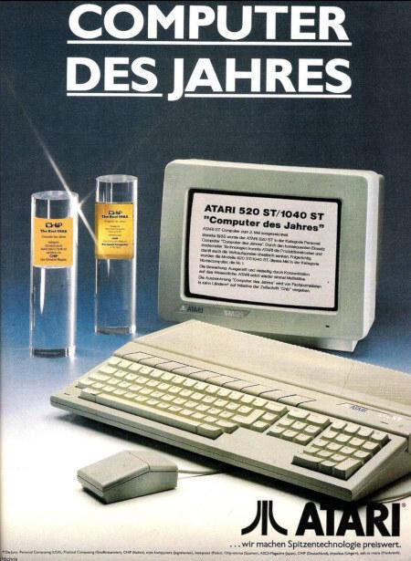 COMPUTER DES JAHRES -- ATARI 520 ST / 1040 ST 'Computer des Jahres' -- ATARI ...wir machen Spitzentechnologie preiswert