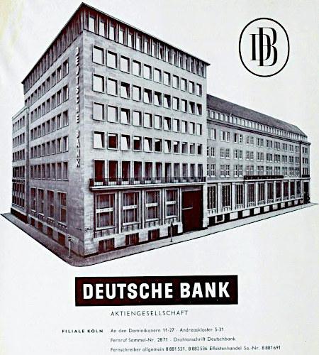 Werbung der Deutschen Bank aus dem Jahr 1961