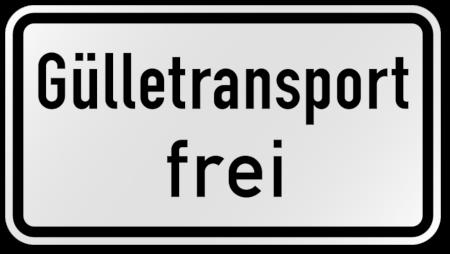 Zusatzzeichen aus der Straßenverkehrsordnung: Gülletransport frei