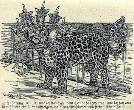 Offenbarung 13:1,2. Und ich stand auf dem Sande des Meeres. Und ich sah aus dem Meer ein Tier aufsteigen, welches zehn Hörner und sieben Köpfe hatte. -- Dazu eine Illustration, wie sie nur ein biblizistischer Fundamentalist mit Zeugen-Jehovas-Hintergrund anfertigen kann