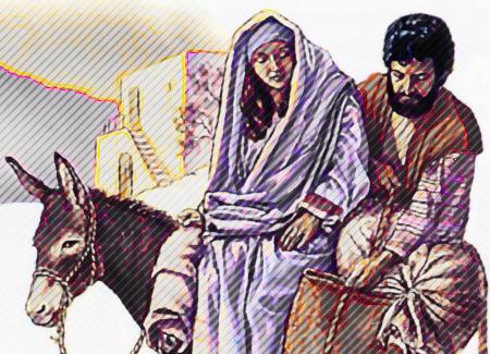 Nachbearbeitete Illustration aus der Literatur der Zeugen Jehovas. Gezeigt wird die schwangere Maria zusammen mit Joseph, reitend auf einem Esel