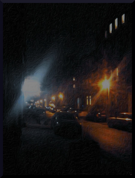 Mit Gimp stark nachbearbeitetes, unterbelichtetes Foto der Albertstraße in Hannover-Linden bei Nacht