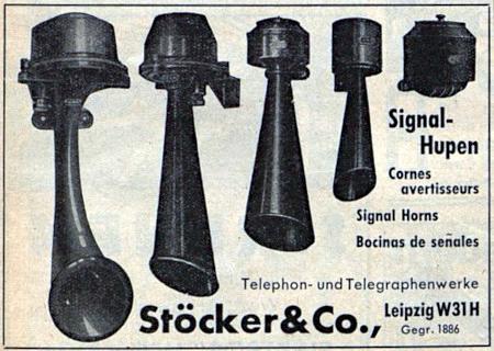 Signalhupen -- Cornes avertisseurs -- Signal Horns -- Bocinas de senales -- Telephon- und Telegrafenwerke Stöcker&Co., Leipzig W31H, Gegr. 1886